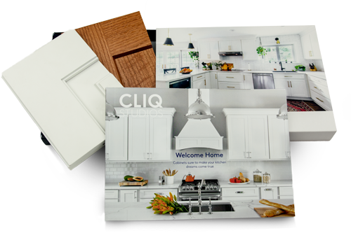 Cliqstudios cabinet samples with sample box, color catalog and two corner samples