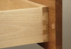Corner view of a solid wood dovetail drawer