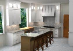 a cliqstudios 3d rendering of a kitchen with dayton white cabinets green tea leaf kitchen island with seating and glass doors