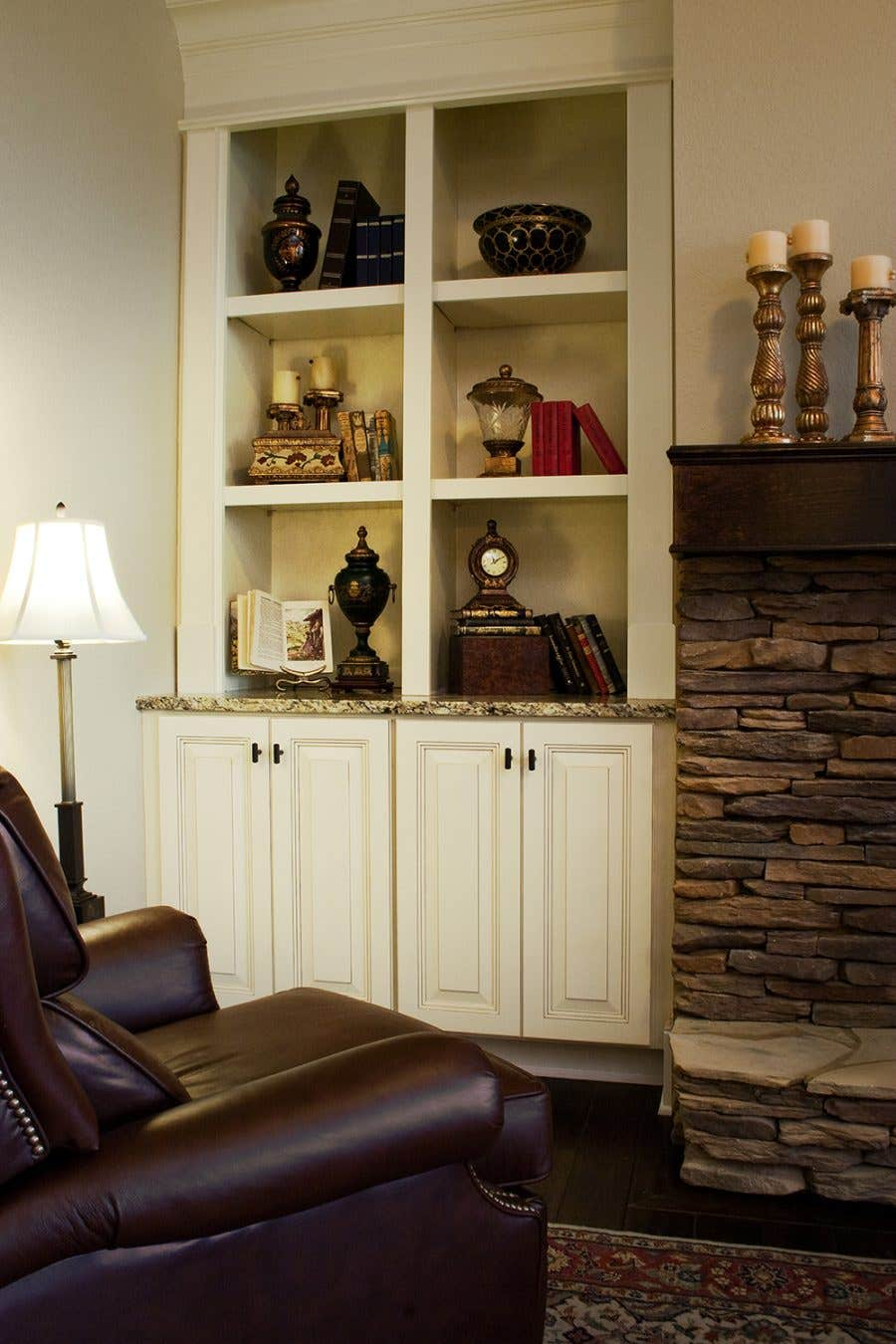 living room fireplace cabinetry shelving display