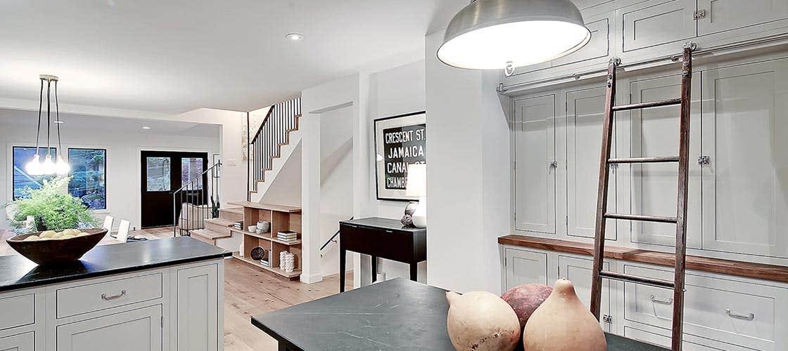 remodeled kitchen full wall storage hutch austin ladder