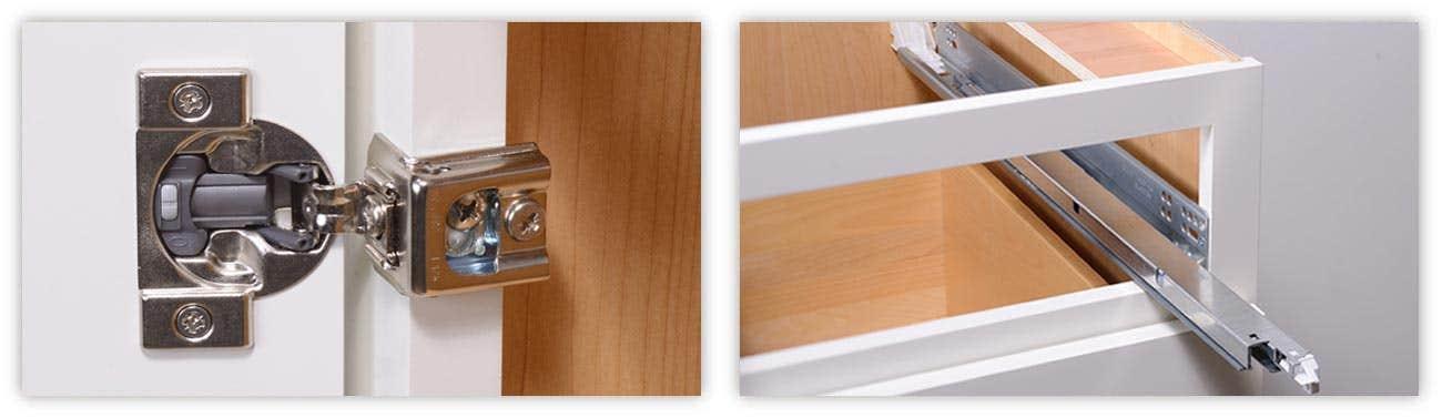 cabinet hardware door hinges and drawer glides or slides