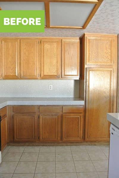 Oak builder grade cabinets before remodel
