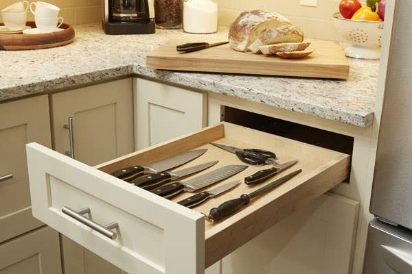 Cutting Board Drawer Placed into a Dayton style cabinet, painted in Urban Stone - bread