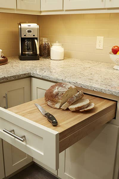 Cutting Board Drawer Placed into a Dayton style cabinet, painted in Urban Stone - Board in