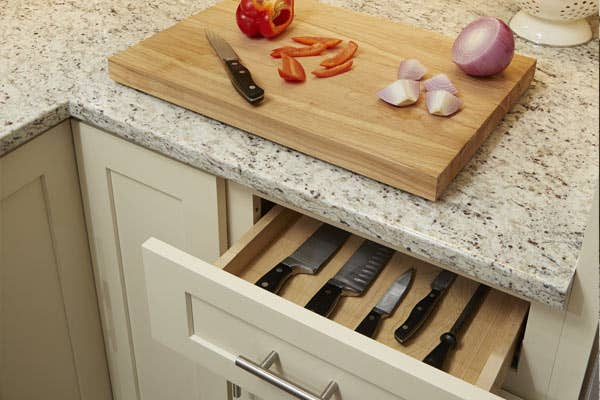Cutting Board Drawer Placed into a Dayton style cabinet, painted in Urban Stone - Veggies