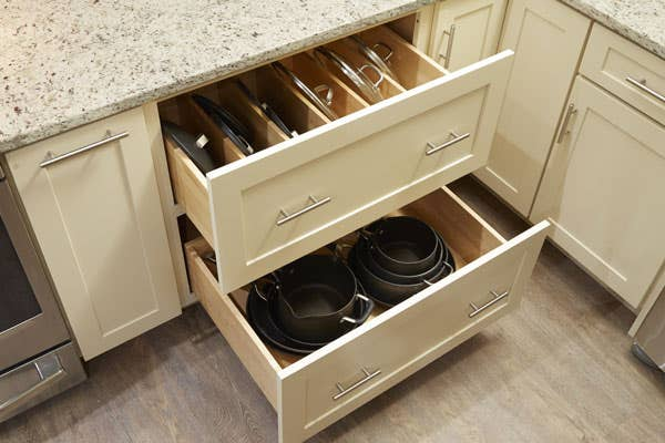 CliqStudios Dayton Cabinet in Painted Linen Multi-Storage Drawer cabinet organizing Lids for Pots & Pans
