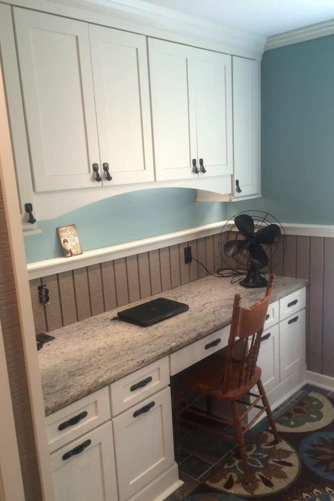 home office desk white shaker cabinets