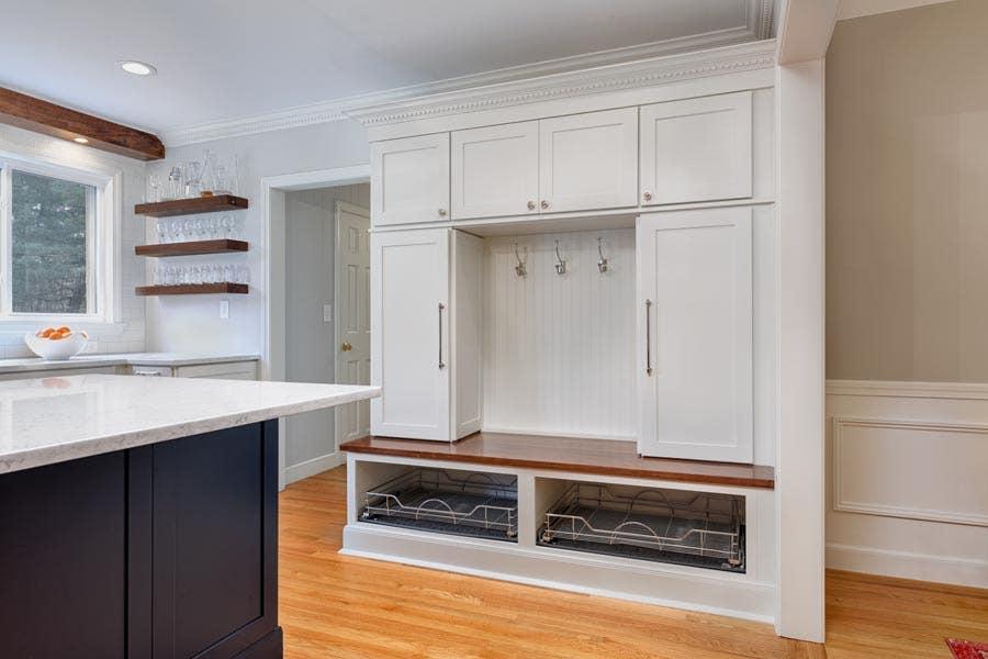 custom entryway mudroom locker white cabinets shoe cubby beadboard back nickel coat hooks