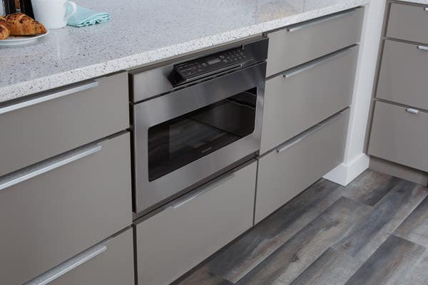 CliqStudios Style-31 cabinets painted in Studio Gray, microwave shelf