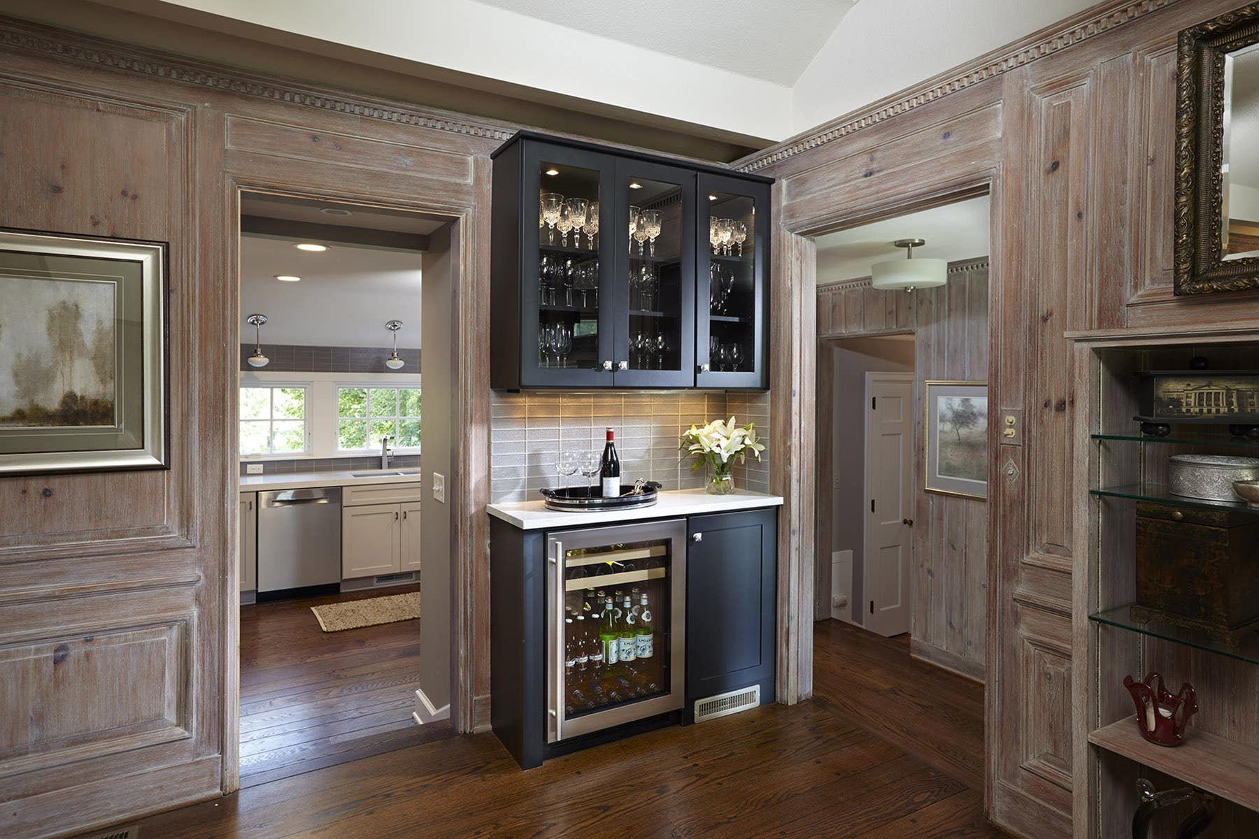 Modern wine storage bar in CliqStudios Dayton cabinet style painted carbon.