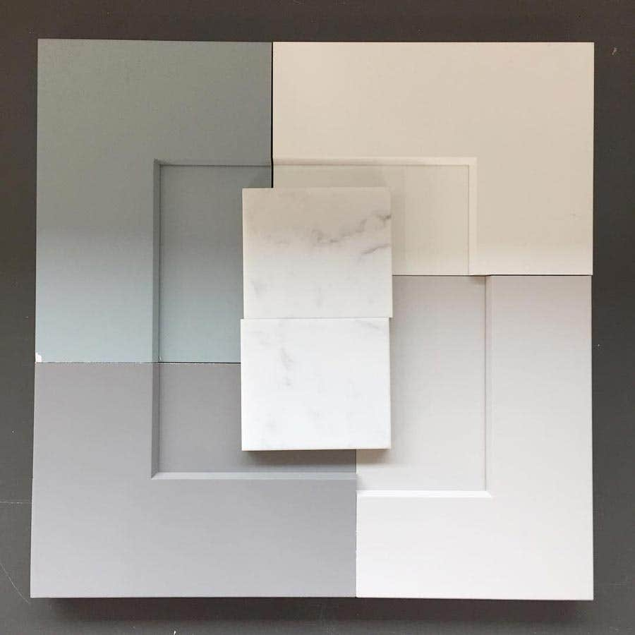 Cabinet and countertop sample board
