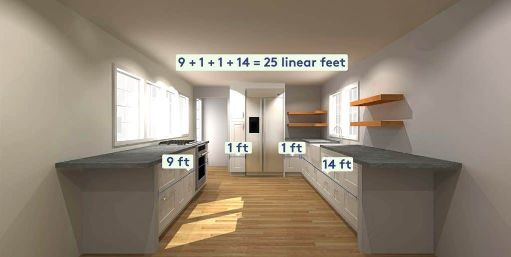 linear foot measurements of a galley kitchen