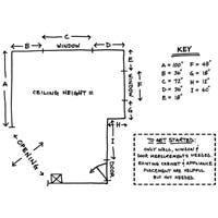 Sketch your measurements to start working with a kitchen designer.