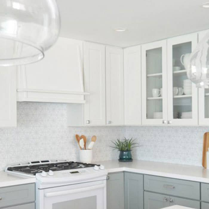 Dayton style cabinets in White and Harbor