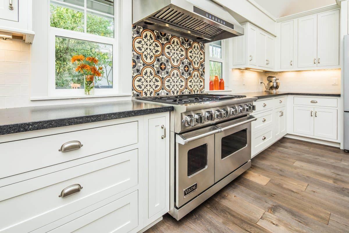 Bold Tile Backsplash Highlights Oven