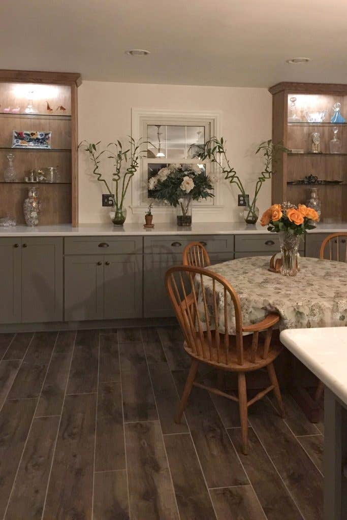 Dining room attached to the kitchen with built-in buffet cabinets