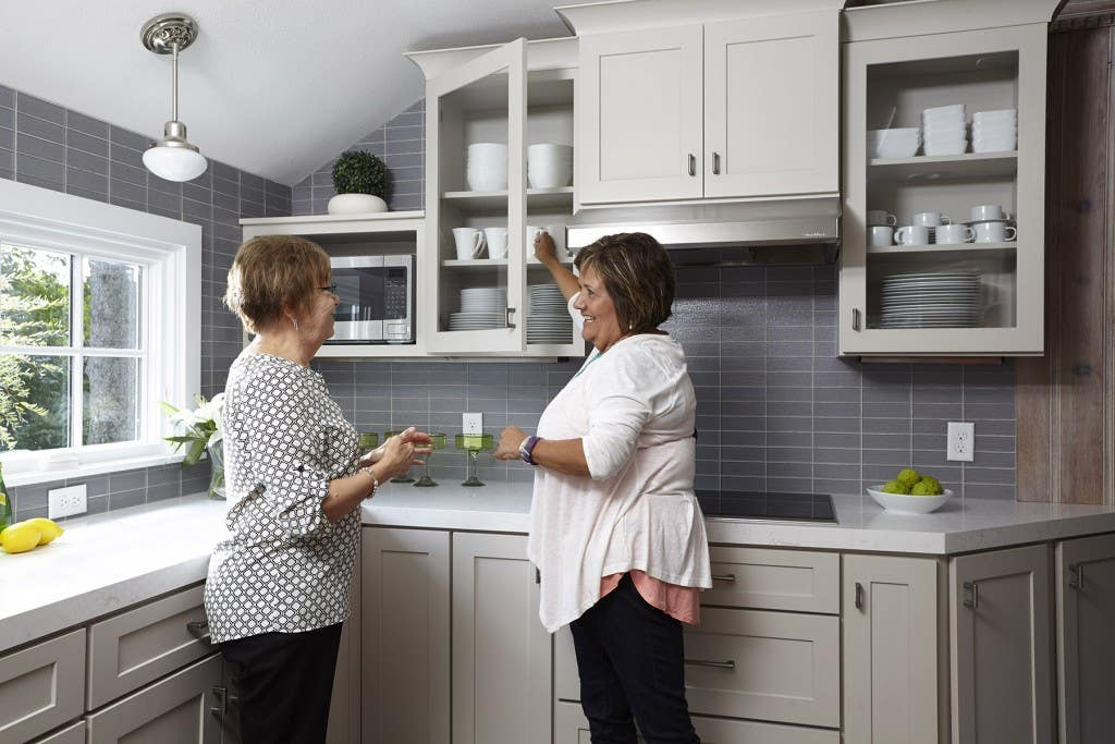 Homeowner Florence and designer Jayelynn in Florence's modern kitchen.
