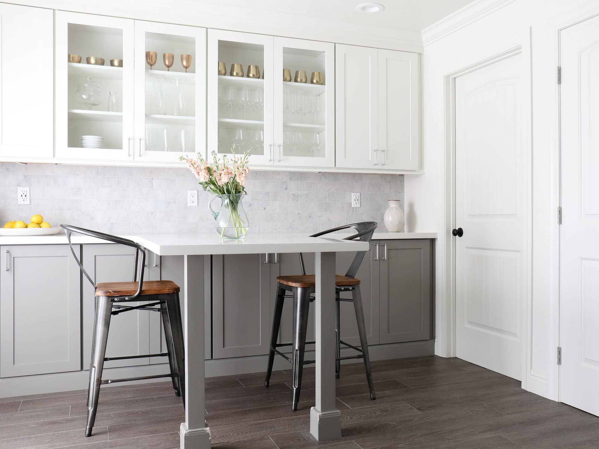 CliqStudios shaker-style Dayton cabinets in Studio Gray and Painted White