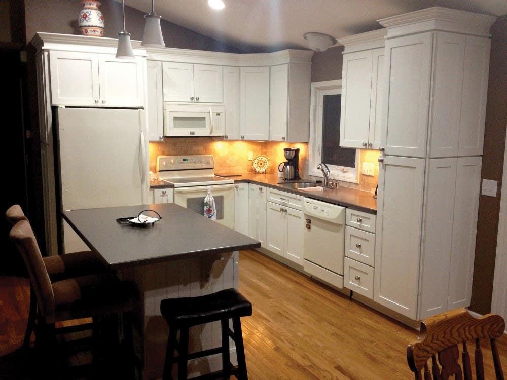 Eagan Minnesota kitchen renovation features CliqStudios Dayton Painted White cabinets