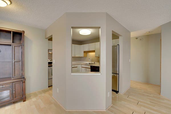 an empty condo with a kitchen with a peek-a-boo window to the living area.