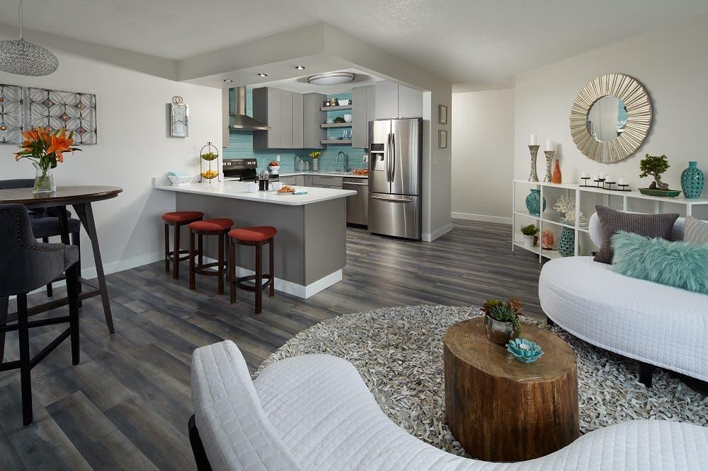 condo iwth gray floor, gray slab door cabinets and modern furniture