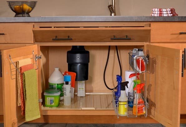 With the Super Sink Base, clean-up is more efficient and clutter out of sight. The package includes pullout baskets, a 3-bar towel rack, a gallon-capacity drip liner and a tip-out tray for small items