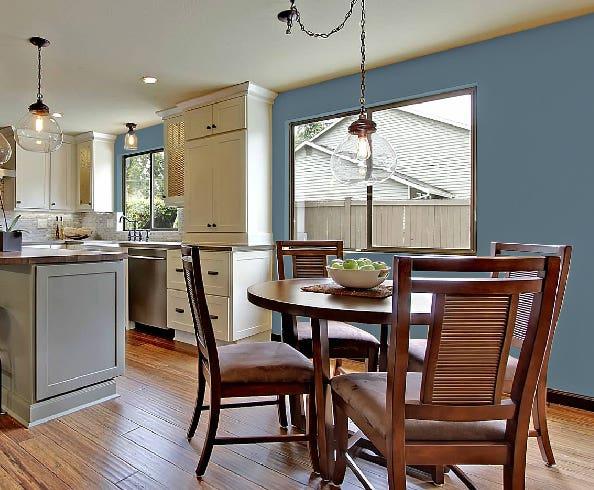 CliqStudios kitchen with blue walls