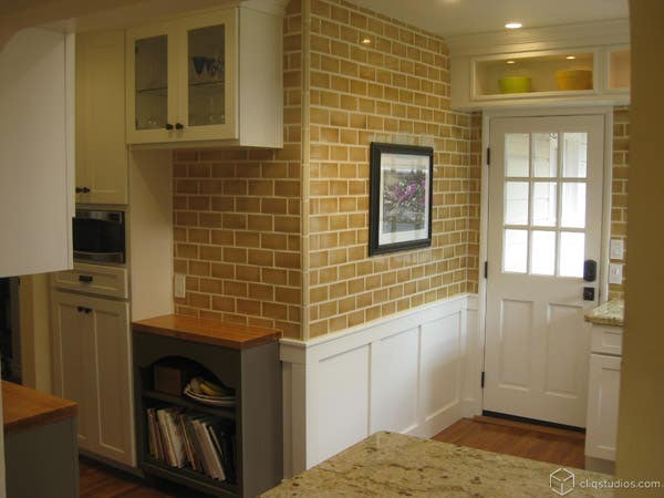 CliqStudios.com Dayton Painted White Cabinets Tile Wall