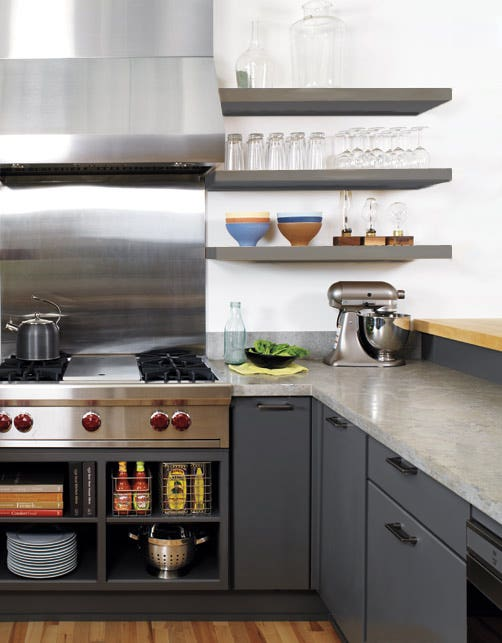 modern gray kitchen with slab door cabinets, floating shelves and stainless pro cooktop and range hood and backsplash