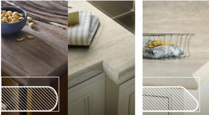 The edge profiles of Formica's new IdealEdge countertop laminates