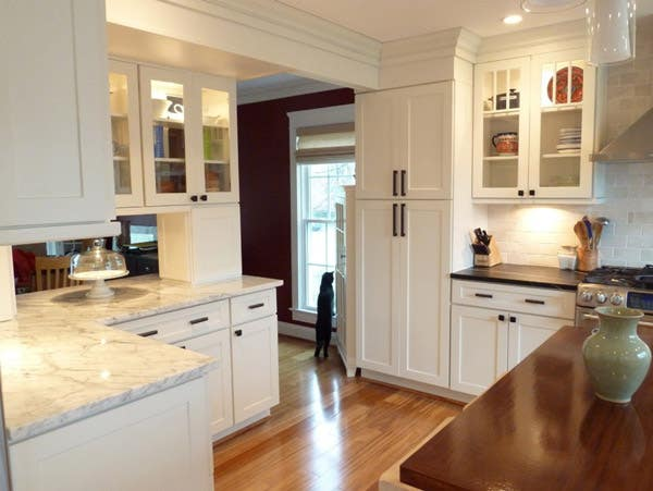 White Shaker Kitchen with Cat