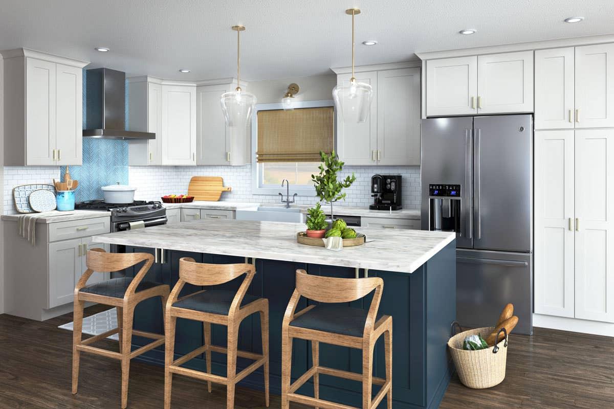 Lily white kitchen with Indigo painted island