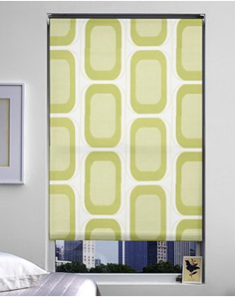 Colorful patterned green shades from The Shade Store.