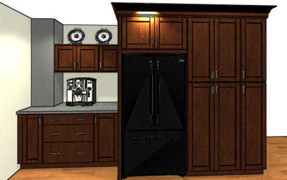 Kitchen design featuring dark Shaker style in peninsula, wall and base cabinets