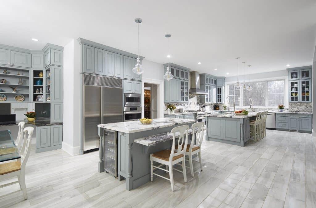 kitchen using CliqStudios Cambridge cabinets in Harbor gray