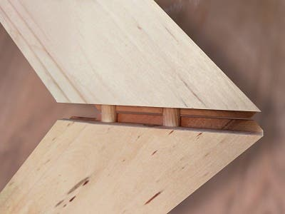Precisely cut, dowled and glued, this mitered joint will hold fast and true for a lifetime - we guarantee it!