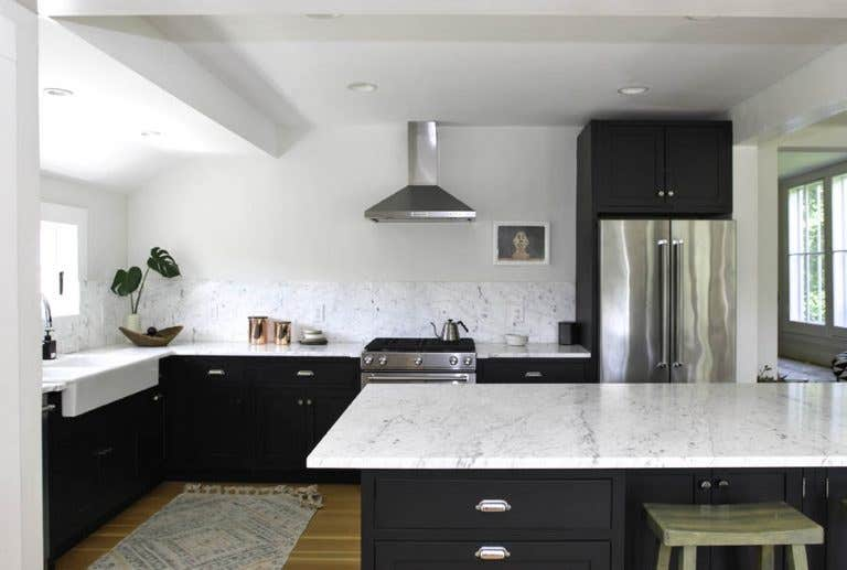 Black Kitchen Cabinets with White Walls