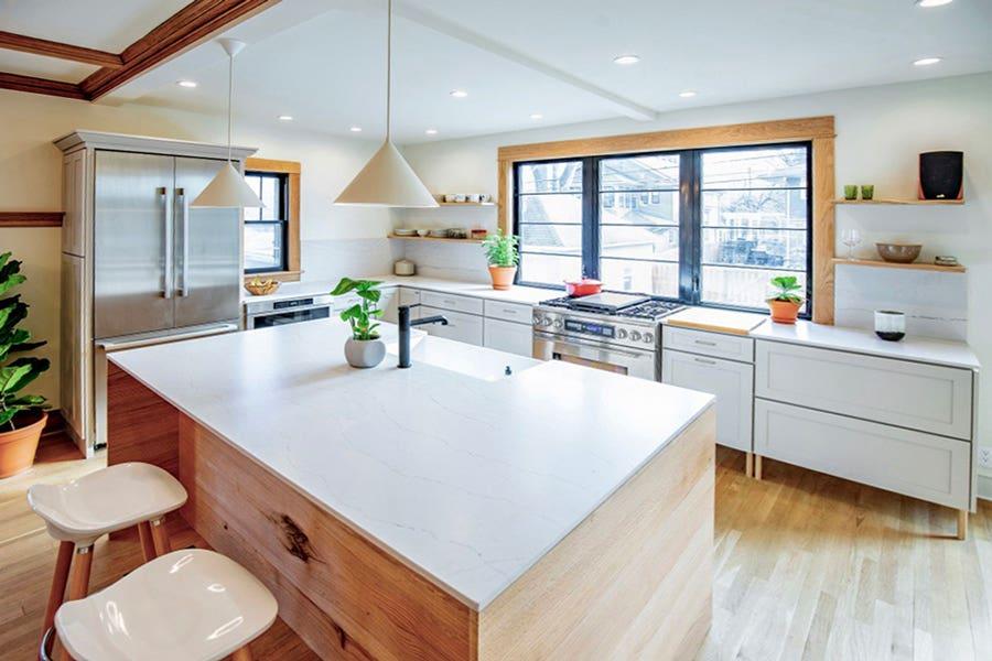 Bright White Kitchen with Island