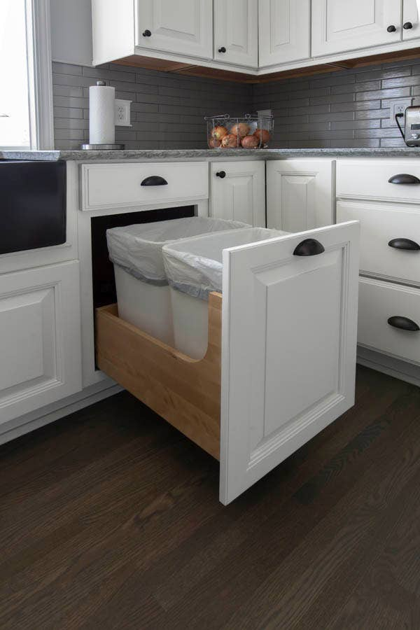 Wastebasket Cabinet Pull Out Storage, Kitchen Cabinet Trash Can Dimensions
