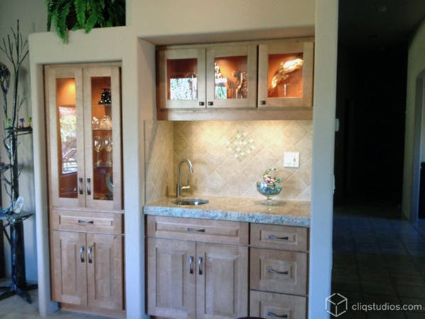 Kitchen cabinetry bar and display area
