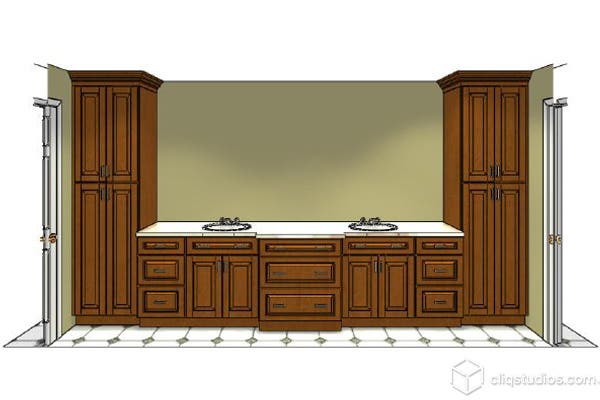 Rendering of maple cabinetry for bathroom