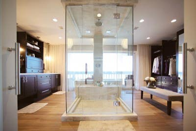 Photo gallery of remodeled bath features CliqStudios Dayton Birch Sable cabinets