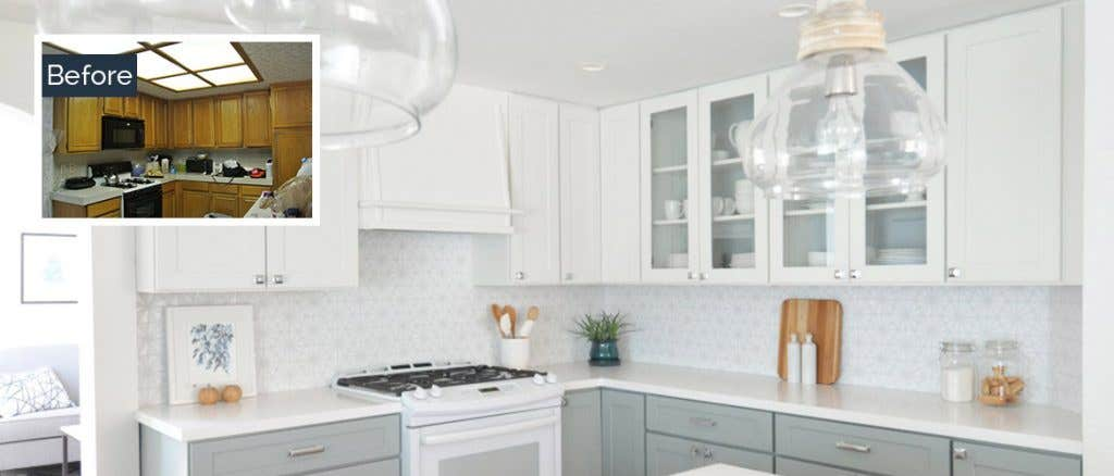 Before and after photos of remodeled kitchen with white cabinets