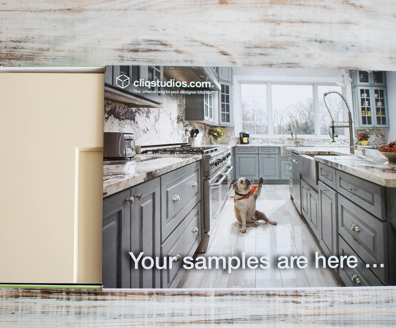 CliqStudios cabinet sample box features harbor gray kitchen
