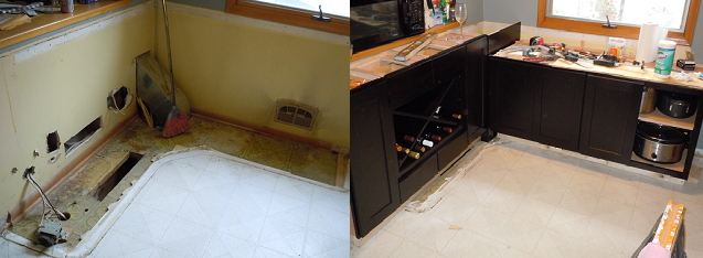 before and after construction images of corner with ductwork and cabinet installation