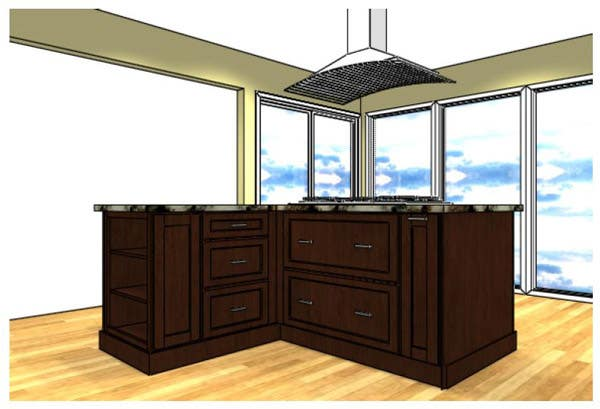 Kitchen Island with Cooktop Close Up