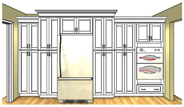 Built-In Pantry Cabinets with Refrigerator
