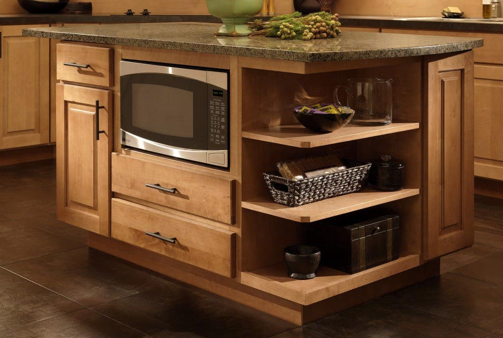 Countertop Microwave In Island : maple center island with under counter microwave cabinet and open end ...