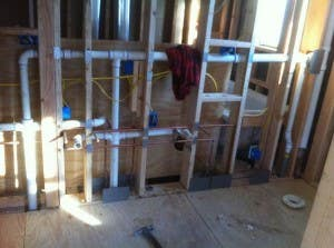 Kitchen remodel plumbing construction